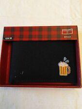 Perry Ellis Men's Emoji Canvas Bifold Beer Wallet, Black in Box WP39001