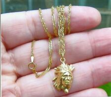 SOLID GOLD AMERICAN INDIAN CHIEF WITH HEAD DRESS PENDANT AND CHAIN