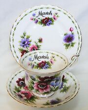 """Royal Albert – March """"Anemones"""" Flower of the Month Trio – 1st Grade – Excellent"""