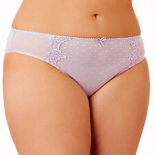 HAYLEY ORCHID MESH, LACE & DIAMANTES FULL FIGURE BRIEFS UNDERWEAR SIZE 16 NEW
