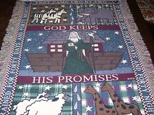 "Vintage NOAHS ARK Wall Hanging ~~ Tapestry Blanket Throw Nursery Large 42"" x 31"""