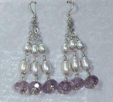 Vintage Sterling Earrings, 8mm Facetted Amethyst, Natural Pearls, Konder #971