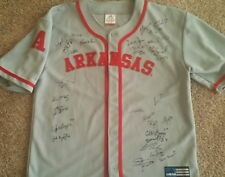 2015 Arkansas Razorback Team Signed Baseball Jersey Omaha CWS Andrew Benintendi