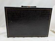 "VINTAGE BAG 14"" Travel Luggage HARDCASE black embossed faux alligator CARRY ON"