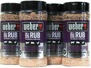 Weber Dry Rub Sweet Cracked Pepper Smoked Beef Pork Chicken BBQ Smoking 12.25 Oz