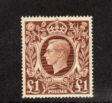1939 George VI £1 brown- superb MNH. SG 478b