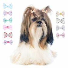 60pcs Mixed Pet Small Dog Hair Bows Rubber Bands Puppy Cat Grooming Accessory AU