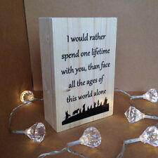 Lord of the Rings Arwen Quote Printed Art on Freestanding Wooden Block