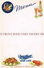 V1 Graphic 1930s Miller High Life Beer Menu Sheet 6½ x 11 inches Tavern Trove