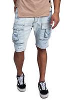 Herren Jeans Cargo Männer Shorts mit Taschen Denim Hellblau John Kayna