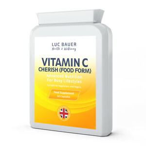 Vitamin C Cherish (Food Form) - 60 Capsules. Made in Great Britain.