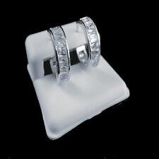 Womens Ladies white Lab simula 14k White Gold Finish Huggies Hoop Style Earrings