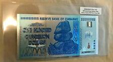 5 GRAINS SILVER 999 Pure Bullion Bar in SilverFoil Zimbabwe 100 Quintillion Note