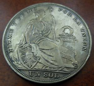 Peru 1923 Silver Sol AU Seated Liberty
