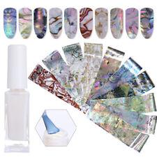 Nail Foils Sticker Holographics Seashell Pearl Marble + 10ml Clear Star Glue Kit