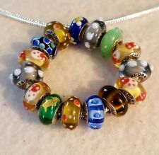 20pcs usted Vintage pandora charm murano  beads 925 sterling silver  lampwork