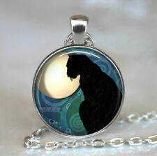cat jewelry,resin pendant,cat necklace,black Black Cat Moon pendant,black