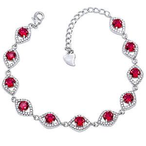 "Pink Rubellite Tourmaline, White Cz 925 Sterling Silver Jewelry Bracelet 6-8""(2)"