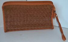 Vintage R O G Straw Wrist Purse Tan Brown Leather