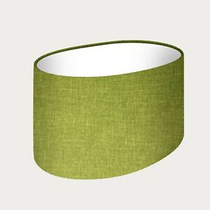 Lampshade Lime Green Texture Woven Fabric Oval Light Shade