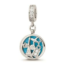 Reflection Beads Sterling Silver Rhodiumed CZ Enameled Travel Disc Dangle Bead