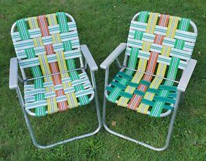 Vtg Pair (2) Webbed Aluminum Frame Folding Lawn Patio Chairs Orange Green Yellow