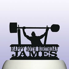 Personalised Acrylic Bench Press Powerlifting Weight Training Cake Topper