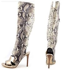 Guess NEW Condolan3 Nude Over the Knee High Boots Ford Open Toe Heels Sz 6 $179