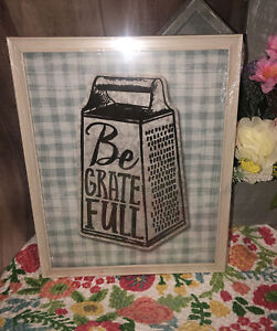 Pottery Barn Be Grateful Thankful Kitchen Decor  Wall Sign Picture 8x12 Love