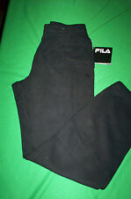 NWT! FILA MENS 2 POCKET ELASTIC BOTTOM SWEAT PANTS=BLACK-SMALL