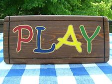 PLAY Wood Sign - Playroom, Child's Room, Classroom - Handpainted, Stained Cedar
