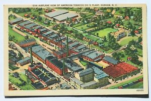 Linen postcard AIRPLANE VIEW OF AMERICAN TOBACCO CO. PLANT, DURHAM, N.C.