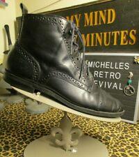 Vtg 80s Nine West 6.5 Black Victorian Gothic Boots Granny Renaissance Witch Goth