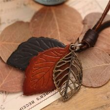 Vintage Jewelry Leather Cord Women Necklace Long Chain Brown Leaf Pendant
