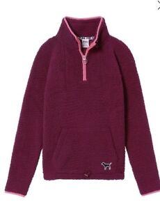 Victoria Secret Pink Sherpa Quarter Zip Pullover Sweatshirt Ruby w/Pink Maroon M