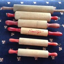 """5 Vtg MINIATURE ROLLING PINS Red Handles USED 6-10"""" (Smitty's not included)"""