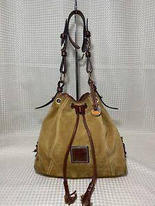 Dooney & Bourke Drawstring Bucket Bag Tote BROWN Shoulder Bag Suede Leather