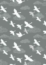 Down by The River Dark Grey Swans in Flight Cotton Quilting Sewing Fabric