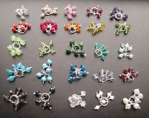 PICK 2 Gemstone Pom Cluster Charms for Earrings Bracelet Anklet Necklace Pendant