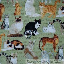 .BonEful Fabric FQ Cotton Quilt Kitty Cat Feline VTG Tabby Calico B&W Breed Word