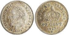NAPOLEON  III  ,  20  CENTIMES  ARGENT  TETE  LAUREE  1867  BB  3  STRASBOURG