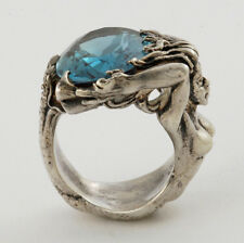 Handcrafted  Beautiful Sterling 925 Full Figured of A Mermaid Holding Ocean Ring