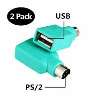 2PCS USB PS/2 Male to USB Female Adapter Converter For PS2 Mouse & Keyboard