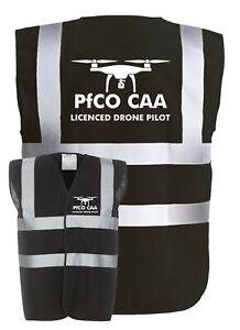 DRONE PILOT Licenced PfCO CAA Black Hi-Vis Visibility Safety Vest/Waistcoat