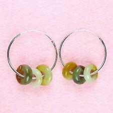 Sterling Silver - Jade Hoop Earrings (ER166)