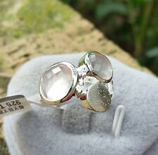 3.60 cts Genuine Rose Quartz Size 7 Ring in 925 Sterling Silver