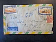 Brazil 1948 Airmail Cover to USA / AMF Tour Back Stamp - Z4945