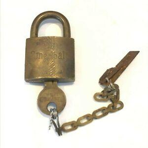 Vintage US Military SET U.S. American Padlock w/ Chain and Working Key - Lock