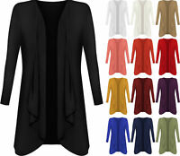 New Plus Size Womens Plain Long Sleeve Open Top Ladies Waterfall Cardigan 16-26