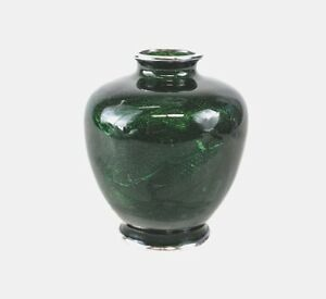 Ando Tomeiyu Shippo Ginbari Transparent Green Enamel Sterling Silver Vase Japan